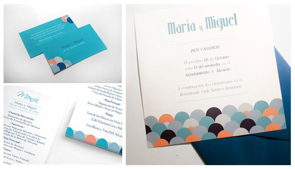 Invitación y sobres personalizados. Menú de la boda